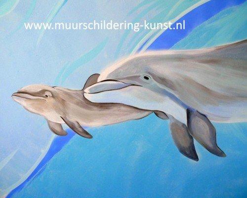muurschildering dolfijnen