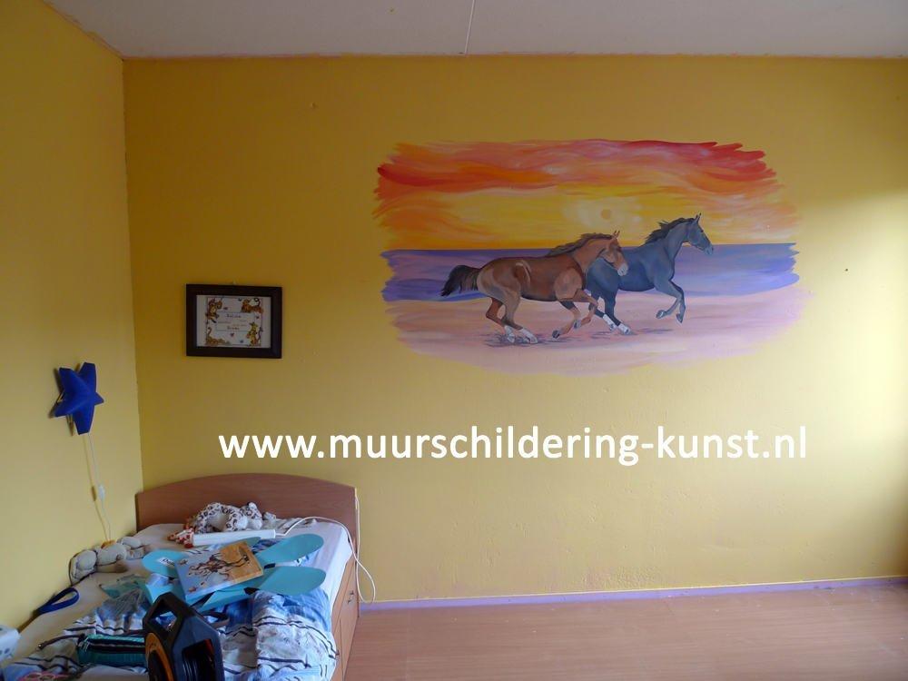 paarden muurschildering