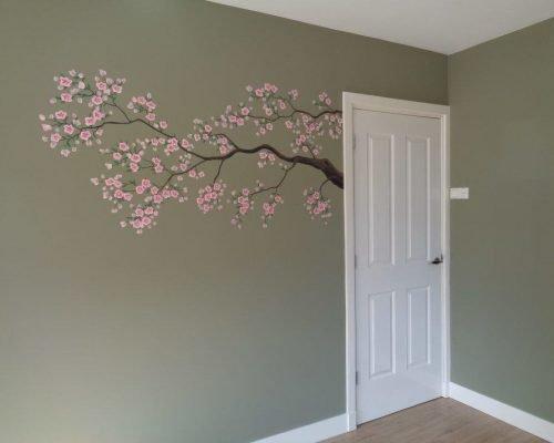 slaapkamer muurschildering tak