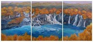 landschap muurschildering op panelen