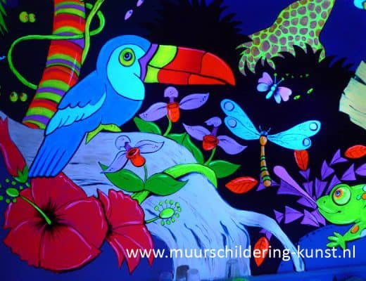 jungle blacklight muurschildering