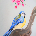 muurschildering kinderkamer vogel