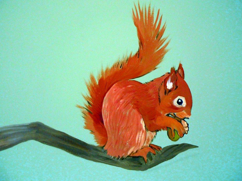 muurschildering bos eekhoorn