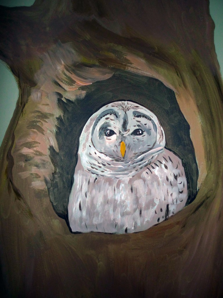 muurschildering bos uil laten maken