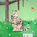 muurschildering kat