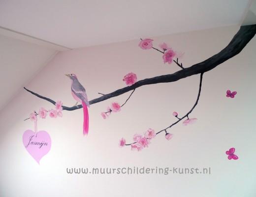 slaapkamer meisje muurschildering vogel