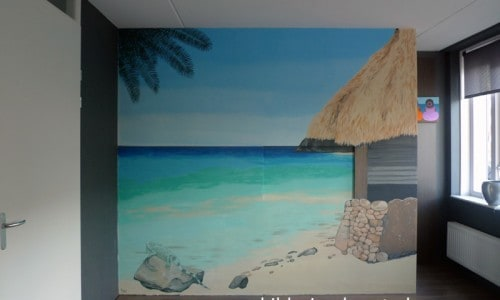 muurschildering strand landschap