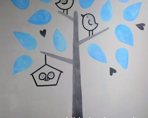 muurschildering geboortekaartje