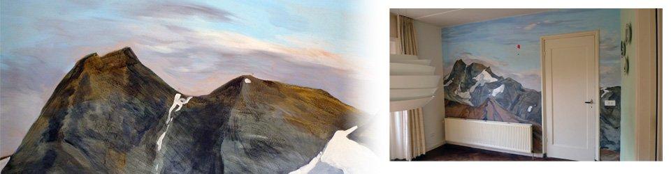 muurschildering bergen landschap