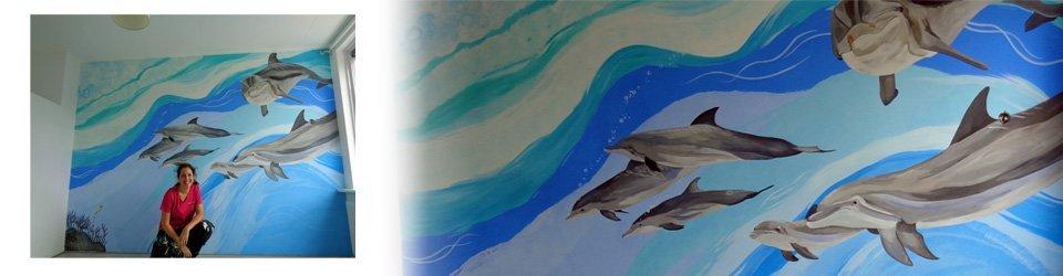 saskia de wit muurschildering dolfijnen