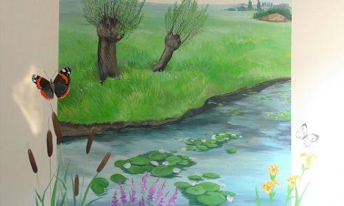 muurschildering landschap