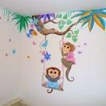 muurschildering appjes babykamer