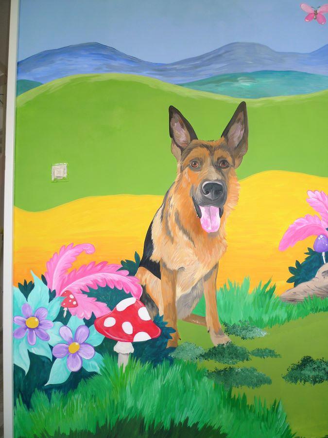 muurschildering hond