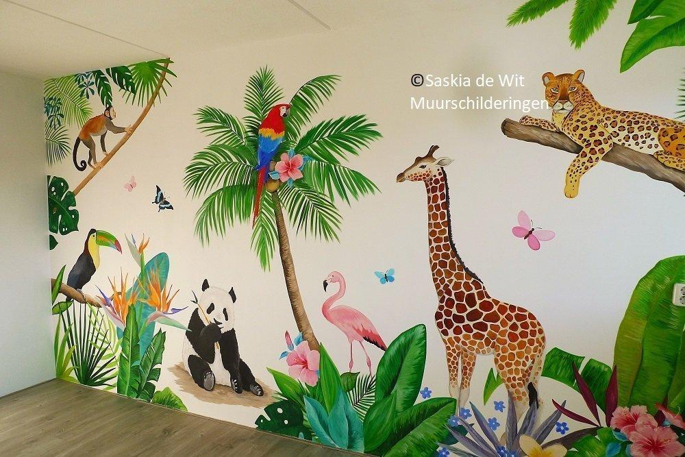 jungle kinderkamer muurschildering
